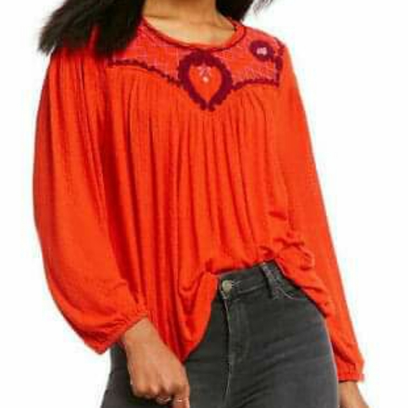 Free People Red Bohemian Pull Over Top